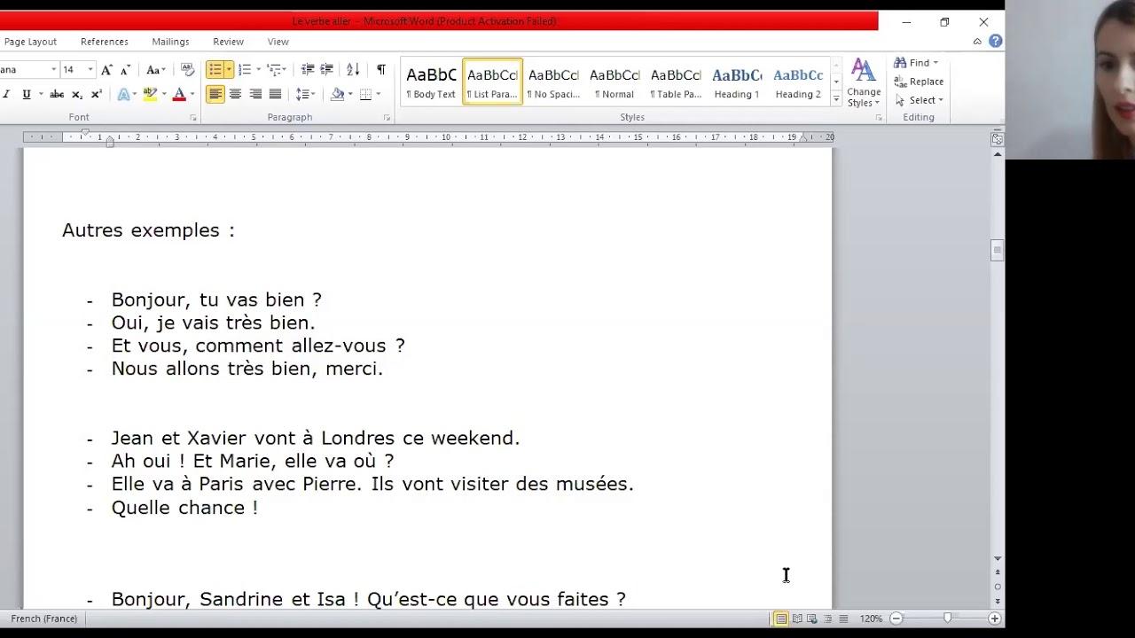 Lectia de Limba franceza online pentru clasele V-VI: Je vais bien.