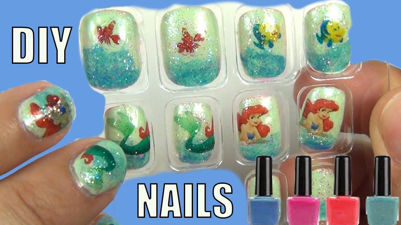 DIY Disney Princess Nails Little Mermaid Nail Art DIY Print At Home ...
