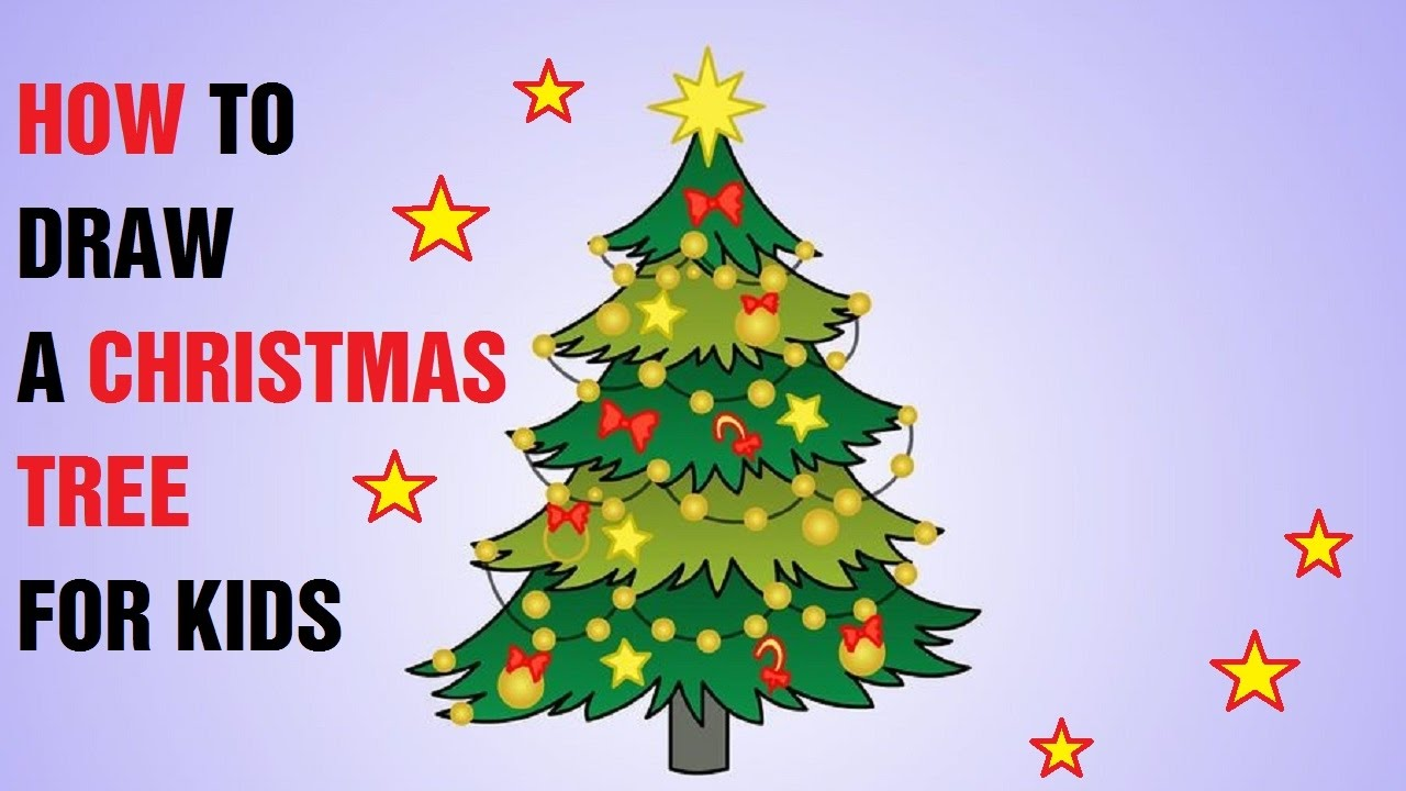 How to Draw a Christmas Tree for Kids  YouTube
