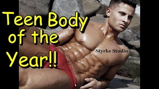 Dominick Nicolai Transformation 19 yr old Body of the Year shredded Photoshoot Styrke Studio thumbnail