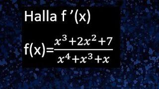 Derivada de cociente de polinomios, derivacion de  cociente de funciones, derivadas de polinomios
