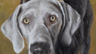 Dog Portraits, Oil Painting Of Two Weimaraner-labrador Mix