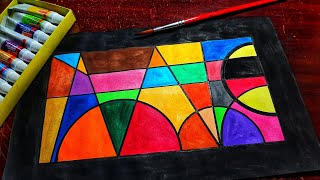 geometric simple easy drawing painting colourful