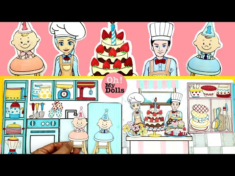 DIY DOLLHOUSE KITCHEN PAPER DOLL QUIET BOOK BIRTHDAY CAKE BAKING TABLE SETTING PAPER CRAFTS FOR KIDS