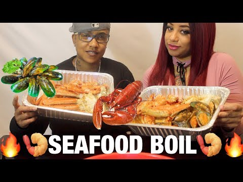 🔥Seafood Boil Mukbang🔥 ! 🦀 Snow Crab Legs/Tiger Shrimp/Green Shell Mussels🦀