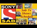 SAB TV Shows Time Table Or Schedule