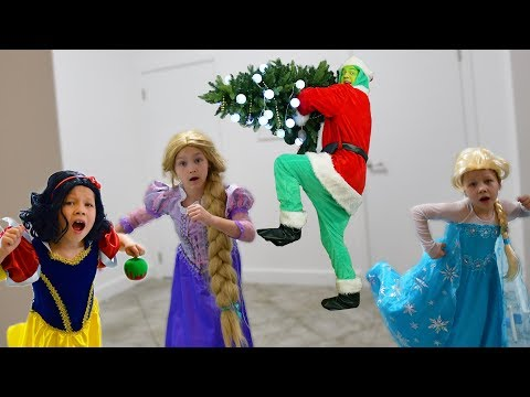 Grinch ruined Rapunzel and Snow White Christmas tree! Grinch vs Princess Disney.