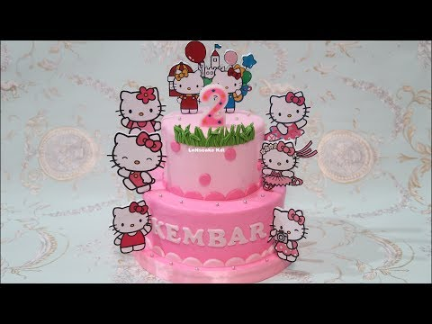 Birthday Cake How to Make Hello Kitty Cake and Happy Birthday Greetings Twins
