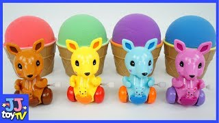 Cute Kangaroo Toy In Kinetic Sand For Kids. Learn Color With Dinosaurs Egg [Jj Colors]