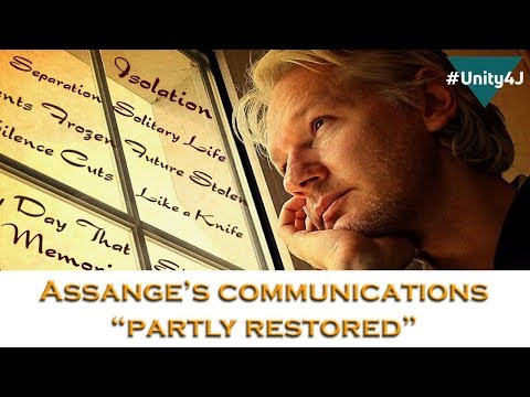 "Julian Assange's communications ""partly restored"""