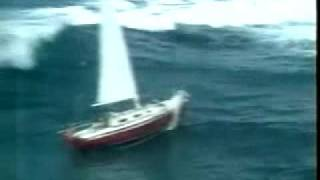 Sailboat gets hit by huge wave
