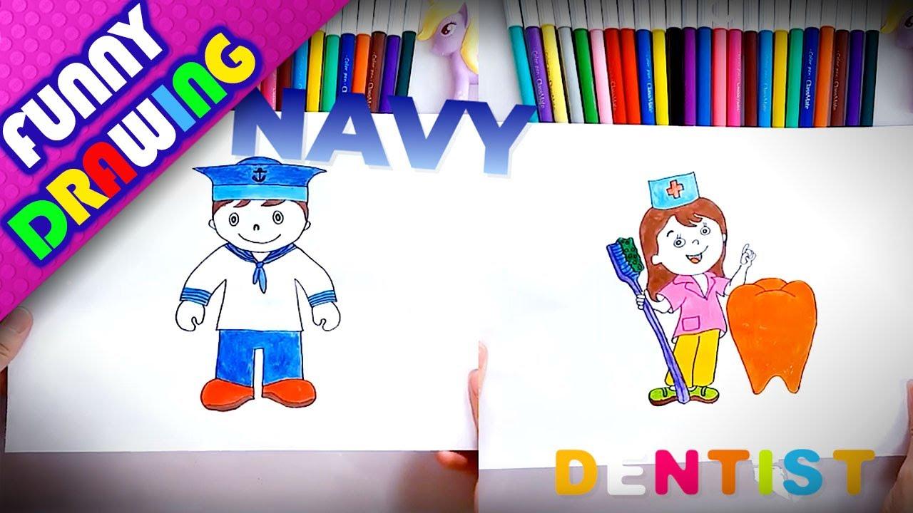 DIY - How to draw a Dentist and Navy solider easy - Dạy bé vẽ và tô màu