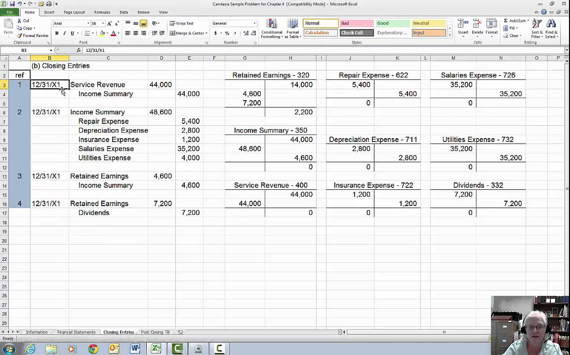 Closing Entry Worksheet : Closing entries and post trial balance youtube