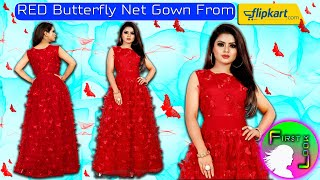 Red Net Gown | Beautiful BUTTERFLY Net Gown | REVIEW | FIRST LOOK