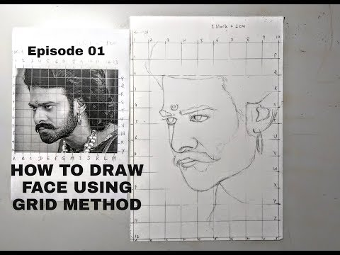 How To Draw A Face Using Grid Method- Episode 1 On Outline Drawing In Hindi For Beginners