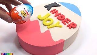 Kinetic Sand Rainbow Giant Surprise Egg Kinder Joy Cake Toys Learn Colors Bad Ba