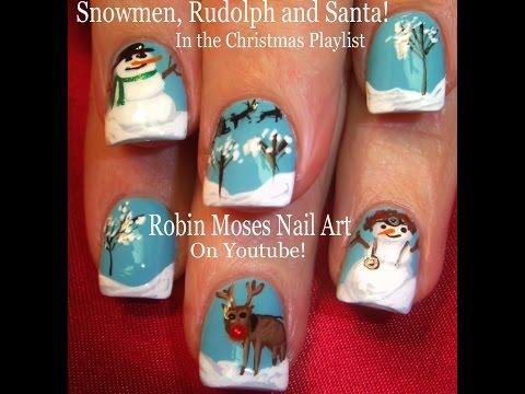 Christmas Nail Art | Snowmen - Reindeer and snow Xmas Nails Design Tutorial thumbnail