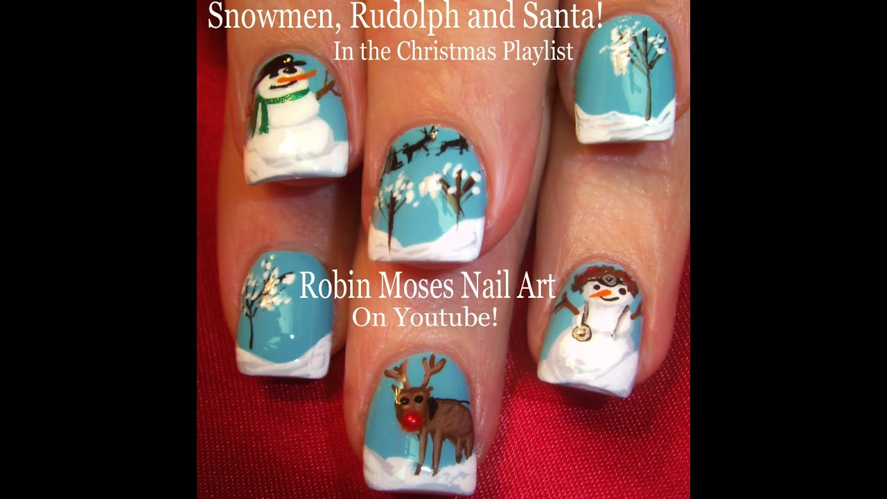 Christmas Nail Art | Snowmen - Reindeer and snow Xmas Nails Design ...