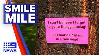 Coronavirus: Woman leaves positive messages in park | 9 News Australia
