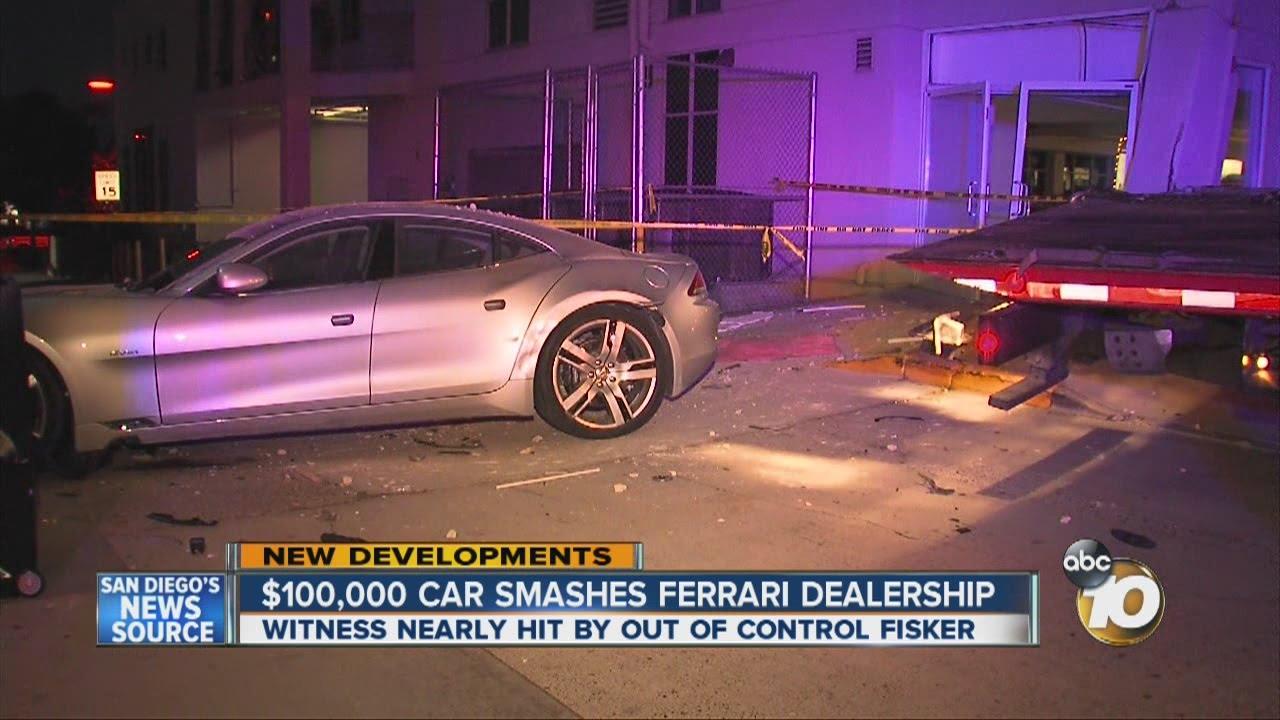 Driver of rare Fisker car hits La Jolla building - YouTube