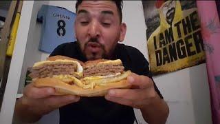 DÉGUSTATION D'UN X4 ( 4 streack + bacon +2 galette pomme de terre + 2 oeufs ) RECORD DU MONDE