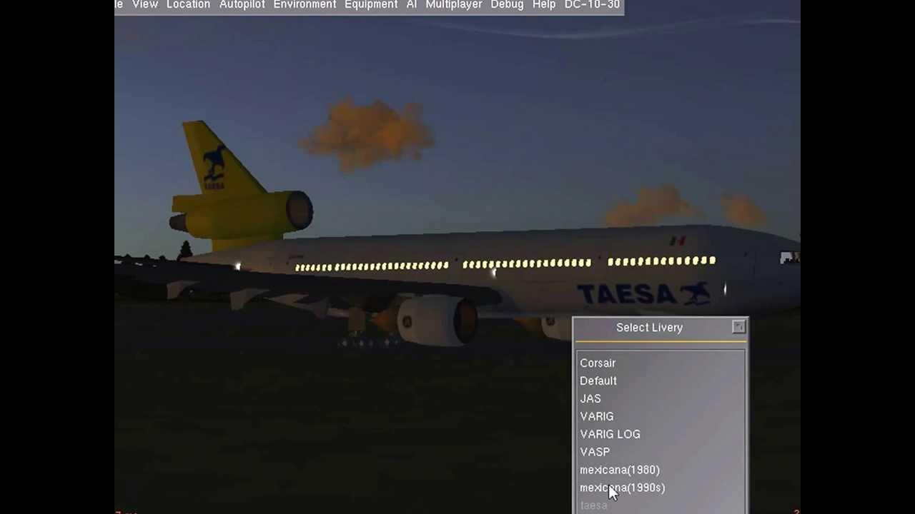 flightgear dc-10 Mexicana landing in MMUN Cancun and mexican liveries