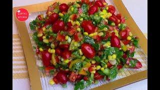 Летний кукурузный салат за 10 минут.Легкий и простой ,хоть каждый день ешь.