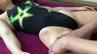 Thighs Massage with black High leg swimsuit [Inguinal lymph no…