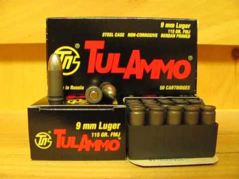 9mm Luger 115 grain FMJ Steel Case Ammo made by Tula in Russia at SGAmmo.com