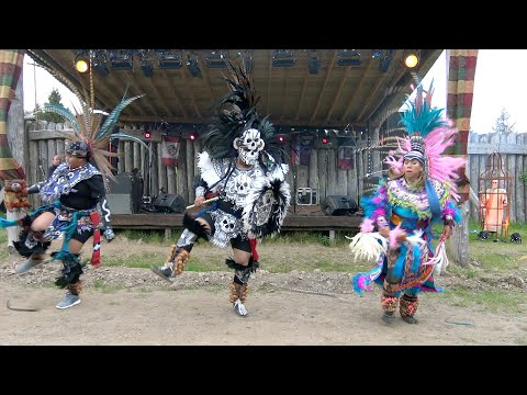 Aztec traditional dance display at Duncarron Medieval Village near Stirling Scotland 2019