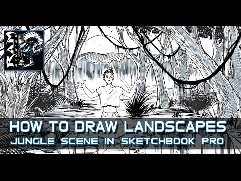 How to Draw Landscapes 001 - Jungle Scene - Using Sketchbook Pro 7