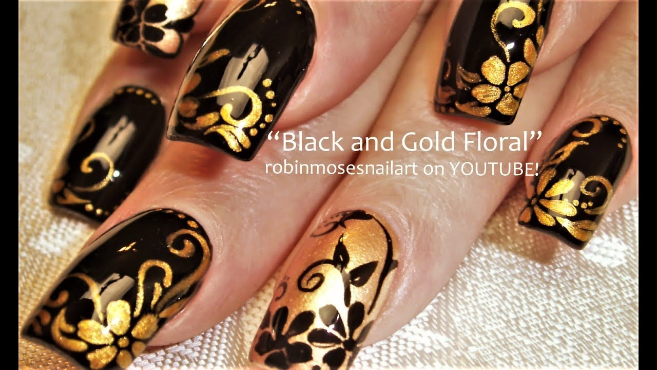 Black And Gold Flower Nails Diy Elegant Nail Design Tutorial Youtube