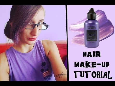 MY FIRST TUTORIAL / REVIEW : L'OREAL FLASH PRO HAIR MAKE UP - PURPLE