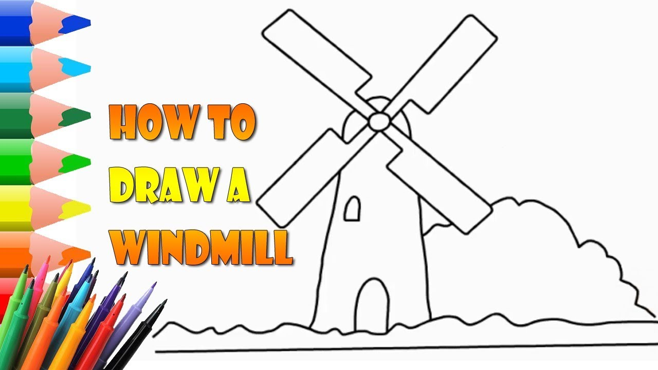 It is a photo of Légend Windmill Drawing Easy