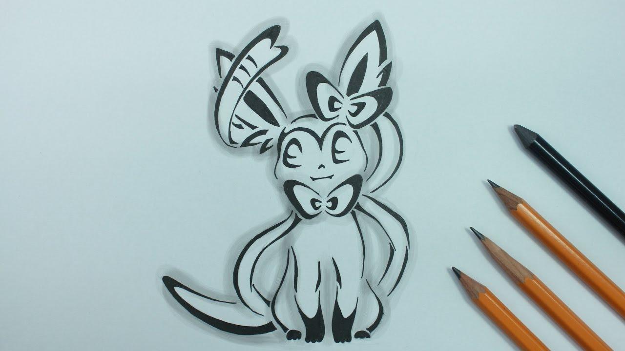 Eevee Evolution - Sylveon Drawing (Tattoo Style) - YouTube  Eevee Evolution...