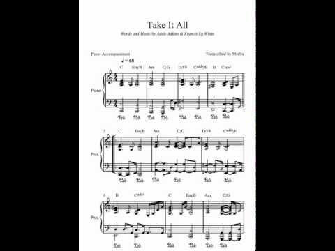 Take It All by Adele - Piano Accompaniment (Sheet Music)