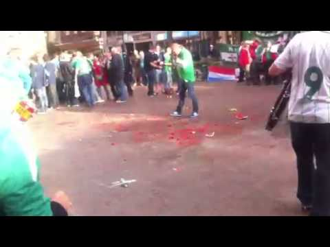 Northern Ireland Fans in the square in Luxembourg