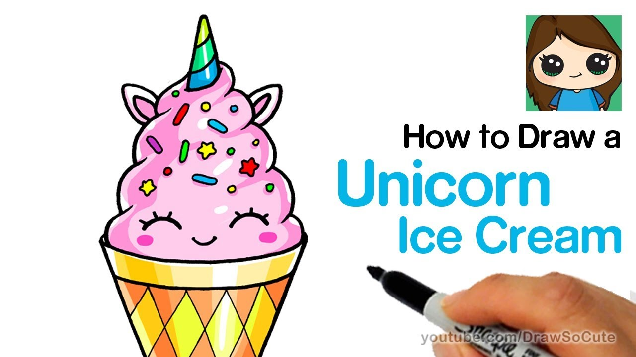 How to draw a unicorn ice cream easy and cute draw so cute