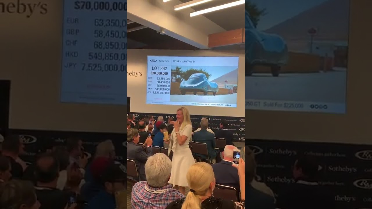 CROWD BOOS! Raw Video of RM Sotheby's Monterey Auction Porsche Type 64 $70 Million Screw Up!