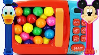 PEZ Candy Toys and Bubble Gum Microwave Kitchen Playset Learn Colors for Children Baby Finger Song