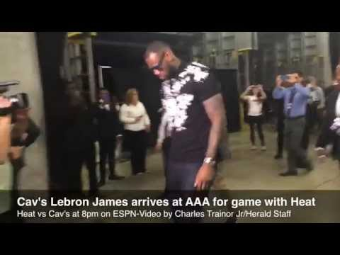 LeBron James arrives at AA Arena for game against Miami Heat