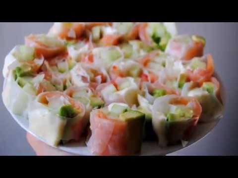 Wrap apéritif sans wrap ! (avec feuille de riz) saumon fumé, fromage frais, avocat et concombre