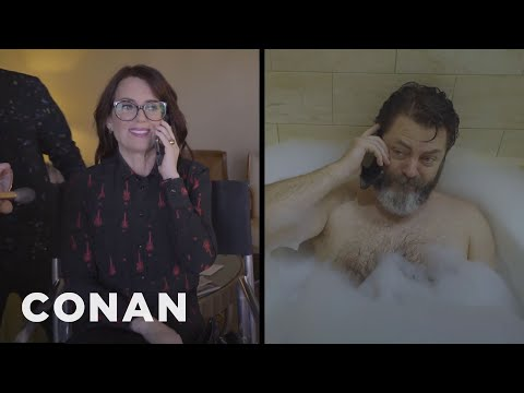 Documentary Footage Of Megan Mullally And Nick Offerman's Home Life   CONAN on TBS