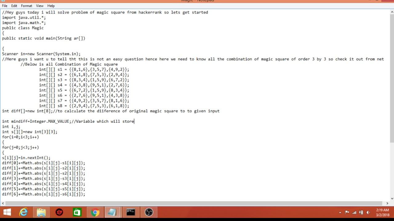 magic square program java