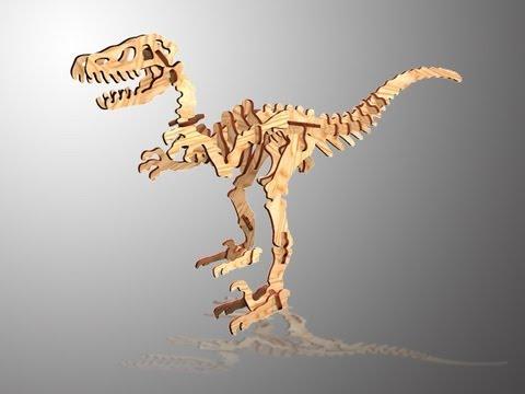 CHICO CRAFT Velociraptor Wooden 3D Puzzle - YouTube