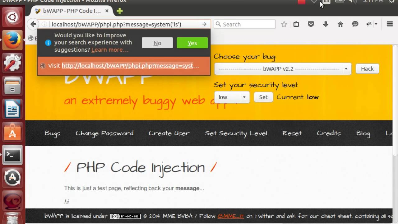 PHP Remote Code Execution Demo on BWAPP