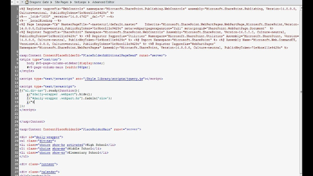 Create jQuery Tabs in Sharepoint 2010