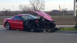 Corvette Crash on Highway Caught on Dash Cam