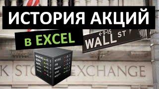 История акций в Excel. Функция ИСТОРИЯАКЦИЙ/STOCKHISTORY
