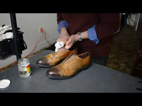 Discolored Allen Edmonds Fifth Avenue dress shoes clean-up and color stripping